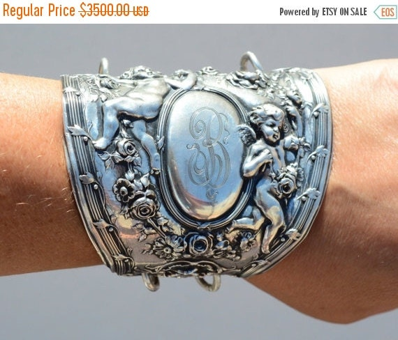 SALE 40% OFF Rare Antique Angel Cherub Gorham .925 Asymmetrical Wide Cuff Bracelet Art Nouveau 925 Bracer Solid Sterling Silver .925 Rose Re