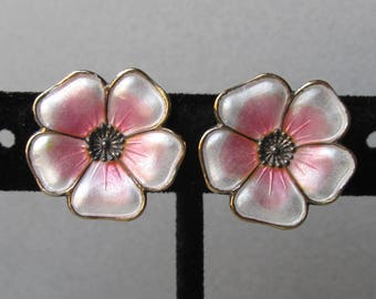 Vintage Silver Plated & Enamel Pink DOGWOOD Flower Earrings from Poland