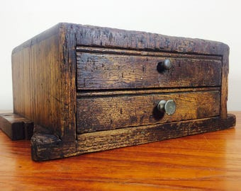 Primitive LockSmith Wood 2 Drawer Cabinet Worn 1930's