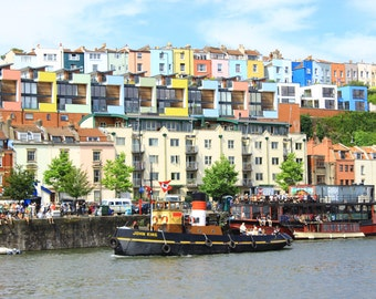John King Boat, Hotwells Road, Coloured Houses, Bristol Harbourside, Fine Art Photography, Bristol, United Kingdom, Photography, England, UK