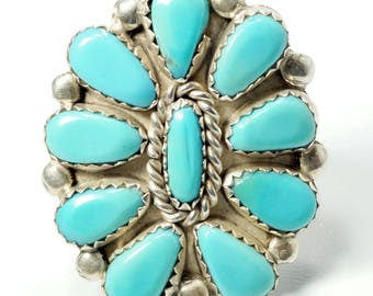Begay Jewelry, Petit Point Ring, Navajo Ring, Turquoise Ring, Vintage Navajo Begay Petit Point Turquoise Cluster Sterling Silver Ring