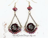 Burgundy Red Bohemian Earrings Garnet Flower Earrings Beaded Chandelier Dangles Long Chain Earrings Colorful Czech Glass Dangle Earrings