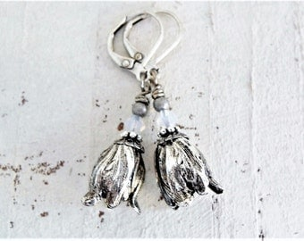Vintage Inspired Silver Tulip Earrings Antiqued Silver Dangles Romantic Gift For Her Flower Earrings Wedding Jewelry Bridal Earrings