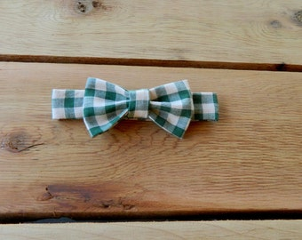 Hunter Green Gingham Adjustable Bow-Tie: 0-18 Months, 2T-4T, 5T/6T, 7/8