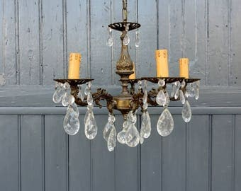 Brass and cut glass crystal chandelier, 5 lamp chandelier, ceiling light, pendant light