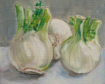 "Oil Painting Original Painting Small Painting ""Fennel"" Kitchen Art"