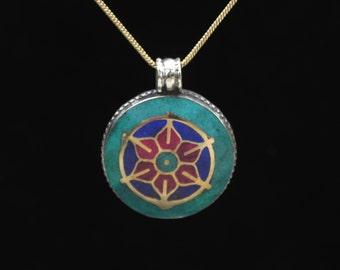 Glowing Lotus Tibetan Pendant Tribal Gemstone Jewelry with Chain