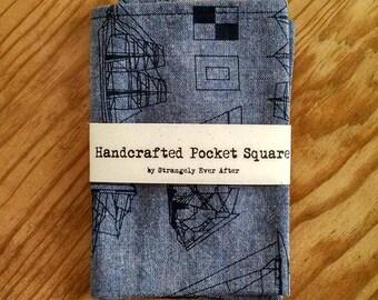 Blue sailboat handkerchief –  nautical mens cotton pocket square