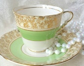 Vintage ROYAL STAFFORD Mint Green Gold Filigree Tea Cup and Saucer/ Made in England / Gilded/ Vintage Tea / Cabinet Cup