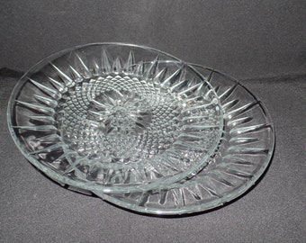 Vintage Arcoroc USA Crystal Luncheon Plates Starburst Diamond Pattern-Set of 2
