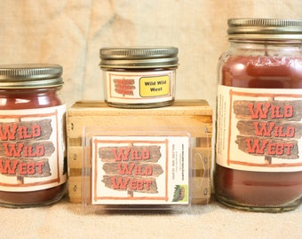 Wild Wild West Scented Candle, Wild Wild West Scented Wax Tarts, 26 oz, 12 oz, 4 oz Jar Candles or 3.5 Clam Shell Wax Melts