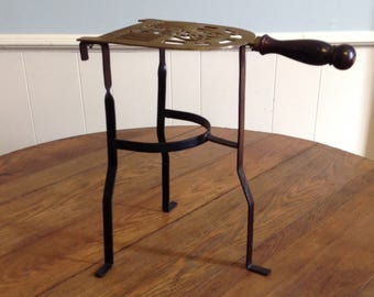 Antique Tall Brass Trivet Footed Kettle Teapot Plant Stand Hearth Fireplace Cast  Iron Legs Pedestal Victorian