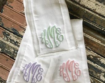 Burp Cloths/White Burp Cloths with Monogram