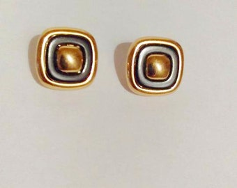 Vintage @ Monet Gold and black Square clip on earrings