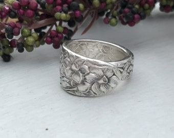 Sterling Silver Plate Spoon Ring, Pattern: Narcissus circa 1935