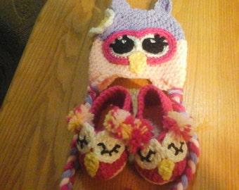 Owl hat, owl booties, owl set, baby set, baby shower gift, baby owl set gift, baby prop, baby shower set, baby hat, baby booties, baby mitts