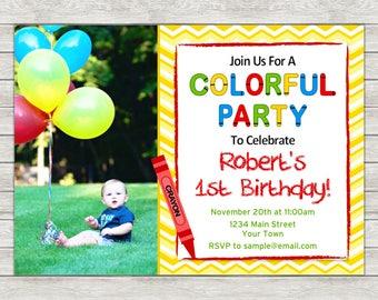 Crayon Birthday Invitation, Crayon Birthday Party Invite - Printable File or Printed Invitations