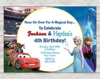 Disney Cars & Frozen Birthday Invitation, Joint Twin Invite - Printable File or Printed Invitations