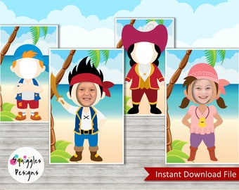 Jake And The Neverland Pirates Photo Props (includes Jake, Izzy, Cubby & Captain Hook) - Digital File