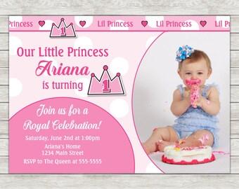 Princess 1st Birthday Invitation - Printable File or Printed Invitations