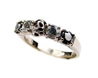 White Gold Skull Wedding Band Natural Black Diamond Sapphire 14k Ring Goth Psychobilly