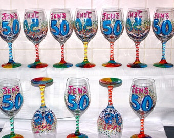 Birthday Wine Glass, Custom wine glasses, Hand Painted wine glass, Personalized Wine glasses