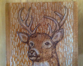 Reclaimed rustic wood burning deer cigar box