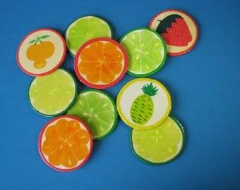 Vintage Citrus Fruits Coasters - Lacquerware - Set of 10 - Orange Lemon Lime - Summer Decor - Mid Century 1970's