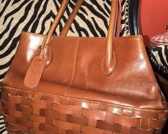 Vintage Etienne Aigner Leather Handbag Basket Weave