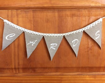 Embroidered wedding banner, linen and lace garland, custom made mini banner in rustic style for party, shower, birthday