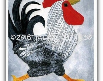 "Rooster collage art print, 8 x 10"" giclee, Farm nursery art, Farm animal, Whimsical rooster, Acrylic painting print, Chicken decor, Bird art"