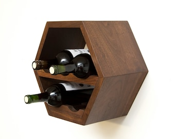 wood wine rack wine storage modern wine rack geometric kitchen decor hanging