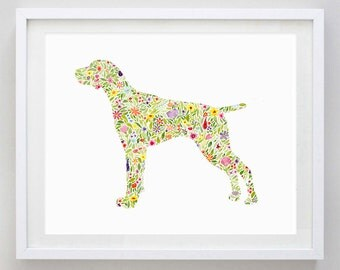 German Shorthaired Pointer Floral Dog Watercolor Print