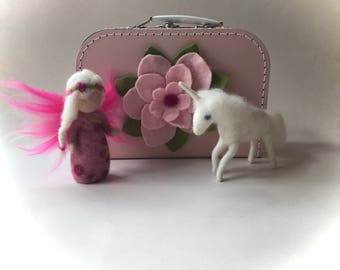 Unicorn and fairy in a suitcase, trunk ,travel.Doll,Story,Felted. Waldorf
