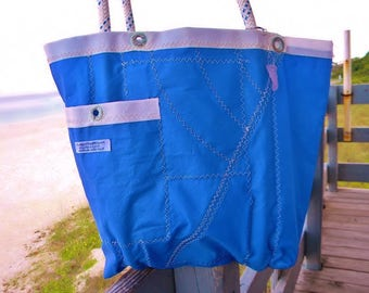 Brilliant BLUE recycled Sail Cloth bag with WHITE Grommet trim, one-of-a-kind, LG sea bag