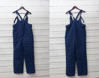 Men Skiing Pants / 80s Vintage Navy Blue Ski Pants / Snow Gear / Snowboarding Onepiece Onesie / Size 176 Medium / Men Mountain Ski Trousers