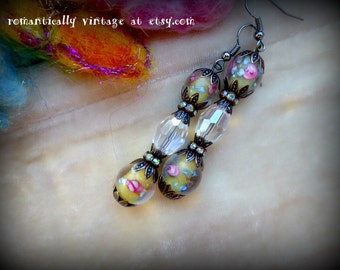 Victorian, Earrings, Beaded, Yellow, Flowers, Art, Unique,  Boho, Shabby Chic, Rustic, Accessories, Vintage Inspired