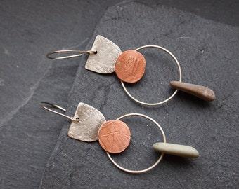 SALE Mixed metal earrings with beach stones, Asymmetric silver earrings, Boho earrings, Mismatched pebble earrings