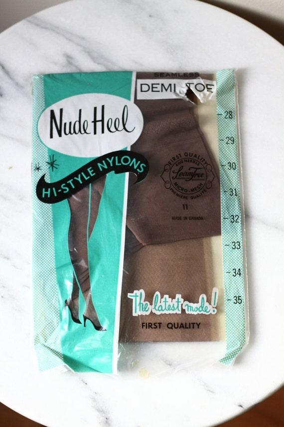 1960s Nude Heel Stockings // deadstock hoisery // vintage nylons