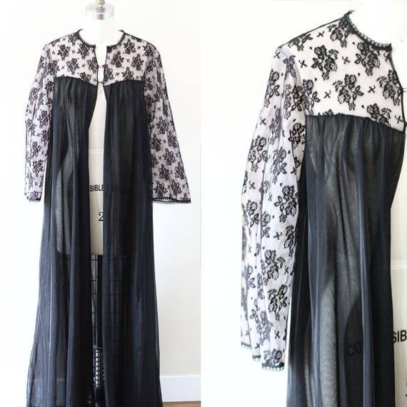 1970s black lace nylon robe // 1970s robe // vintage negligee