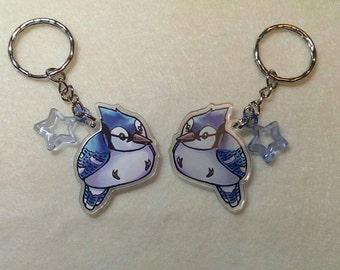 "Blue Jay Keychain, DOUBLE SIDED 1.5"" Acrylic Keychain, Gift for Bird Lover, Stocking Stuffers, Bird Gift, Cute Bird Keychain, Blue Jay Gift"