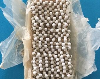 Vintage milk glass bead chain, 4mm, 5ft