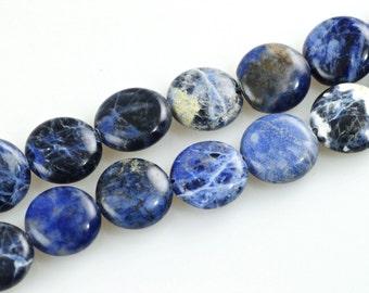 Sodalite-14mm Sodalite Coin Beads- Sodalite Beads-Sodalite Bead Strand-14mm Sodalite Bead Strand-Natural Sodalite-Coin Bead Strand