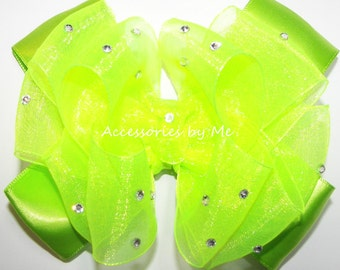 Glitz Pageant Hair Bow, Frog Green Clip, Neon Lime Green Organza Satin Bow Barrette, Princess Tiana Disney Costume Bows, Green Bow Head Band
