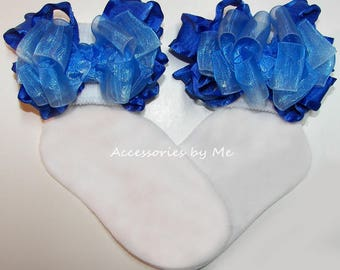 Frilly Ruffle Socks, Royal Blue Ombre Organza Bow Socks, Baby Girls Toddler Accessories, Halloween Princess Cinderella Costume Pageant Socks