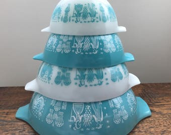 Vintage Pyrex Amish Butterprint 4-PC Mixing/Nesting/Cinderella Bowl Set in Turquoise Butterprint 441, 442, 443, 444