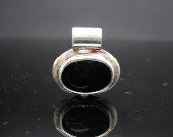 Sterling Silver Onyx Pendant Oval Large Bail Slide 925 Jewelry