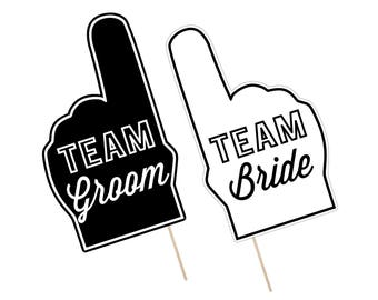 Printable Wedding Photo Booth Props . Team Groom/Bride . Wedding . Bachelor/Bachelorette . Bridal Shower . Black/White . Instant Download
