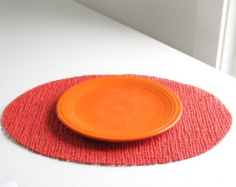 Vintage red vinyl placemats / 1980s foam vinyl mats / retro holiday table decor / red Christmas placemats