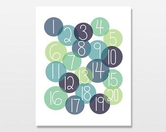 Boys Numbers Art Print, Nursery Wall Art, Counting Artwork, Blue Circle Modern Numbers